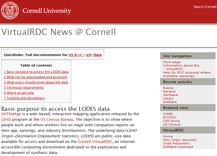 Screenshot of the VirtualRDC site